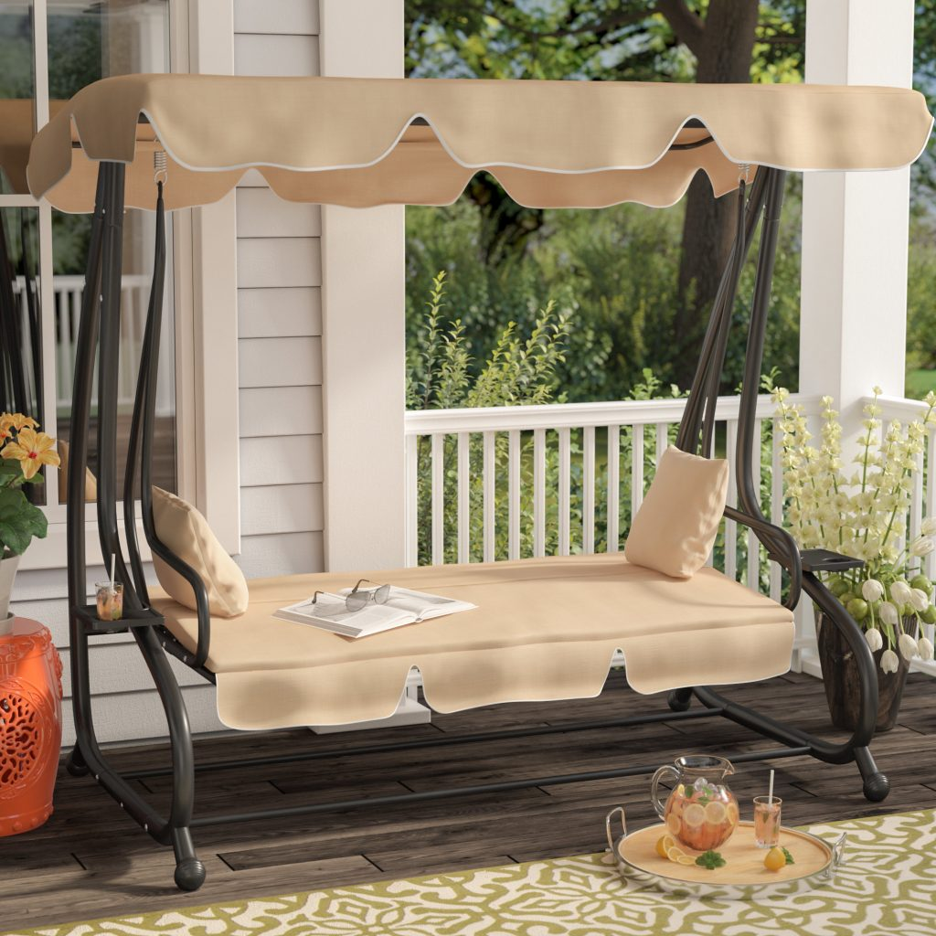 Whitney Outdoor Covered Porch Swing With Stand Reviews Joss Main