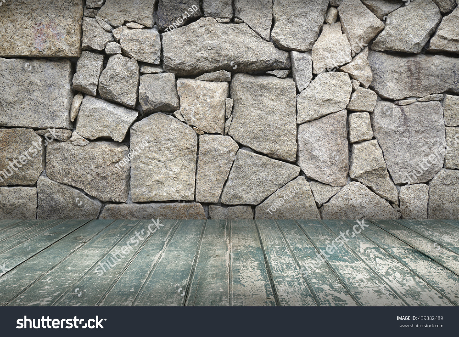 Wooden Terrace Stone Wall Stock Photo Edit Now 439882489