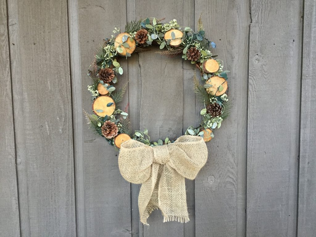 Woodland Wreath Wood Slices Wreathwinter Wreath Rustic Etsy