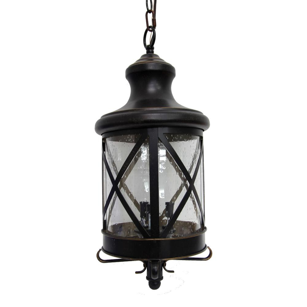 Y Decor Taysom 3 Light Oil Rubbed Bronze Outdoor Hanging Lantern