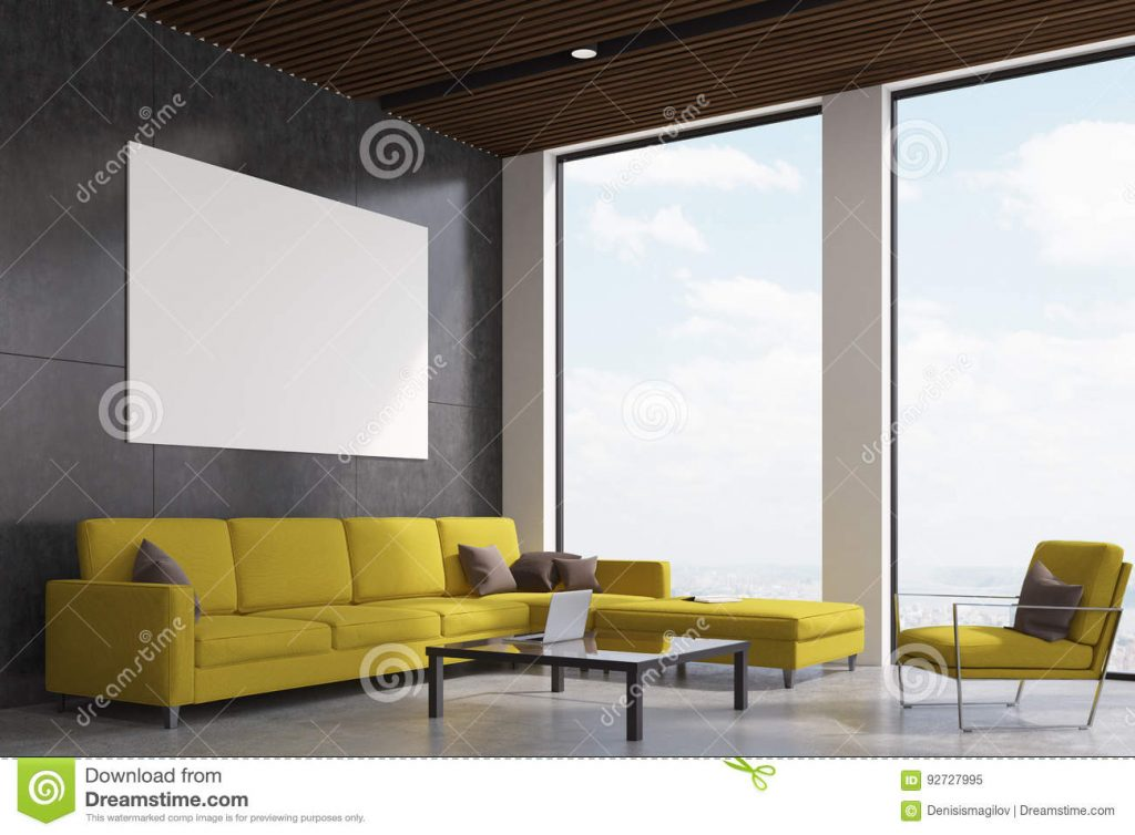 Yellow Living Room Side Stock Illustration Illustration Of Nobody