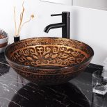 Yescomusa Tempered Glass Round Vessel Sink Antique Totem Pattern