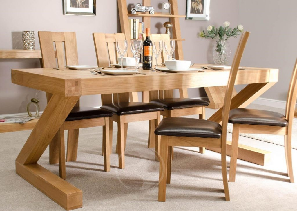 Z Shape Solid Oak 6x3 Dining Table Oak Furniture Uk