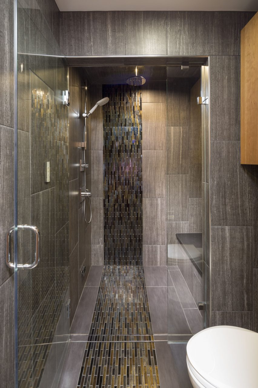 Zero Threshold Steam Shower With Iridescent Mosaic Glass Tile