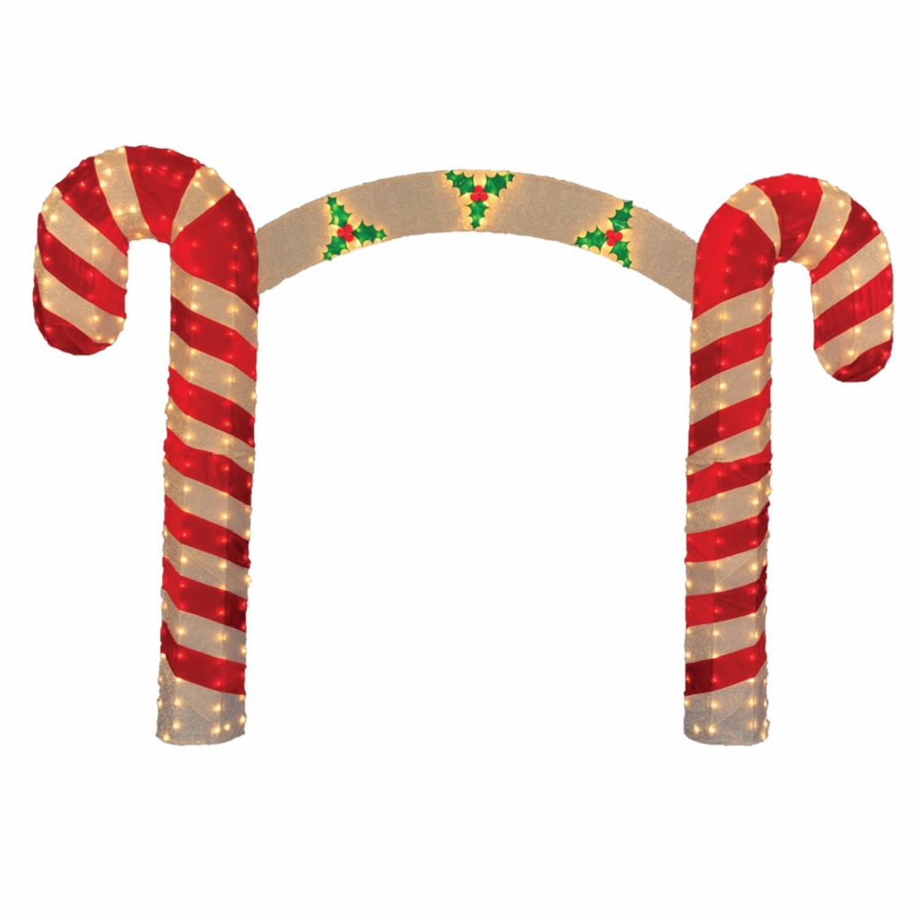10 Pre Lit Candy Cane Christmas Archway Yard Art Decoration Clear