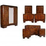1920s Italian Art Deco Bedroom Set In Walnut And Burl Walnut
