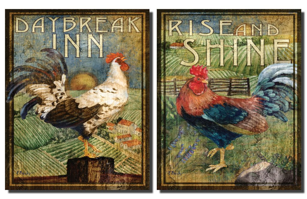 2 Retro Rooster Rustic Art Prints Country Kitchen Decor 8 10