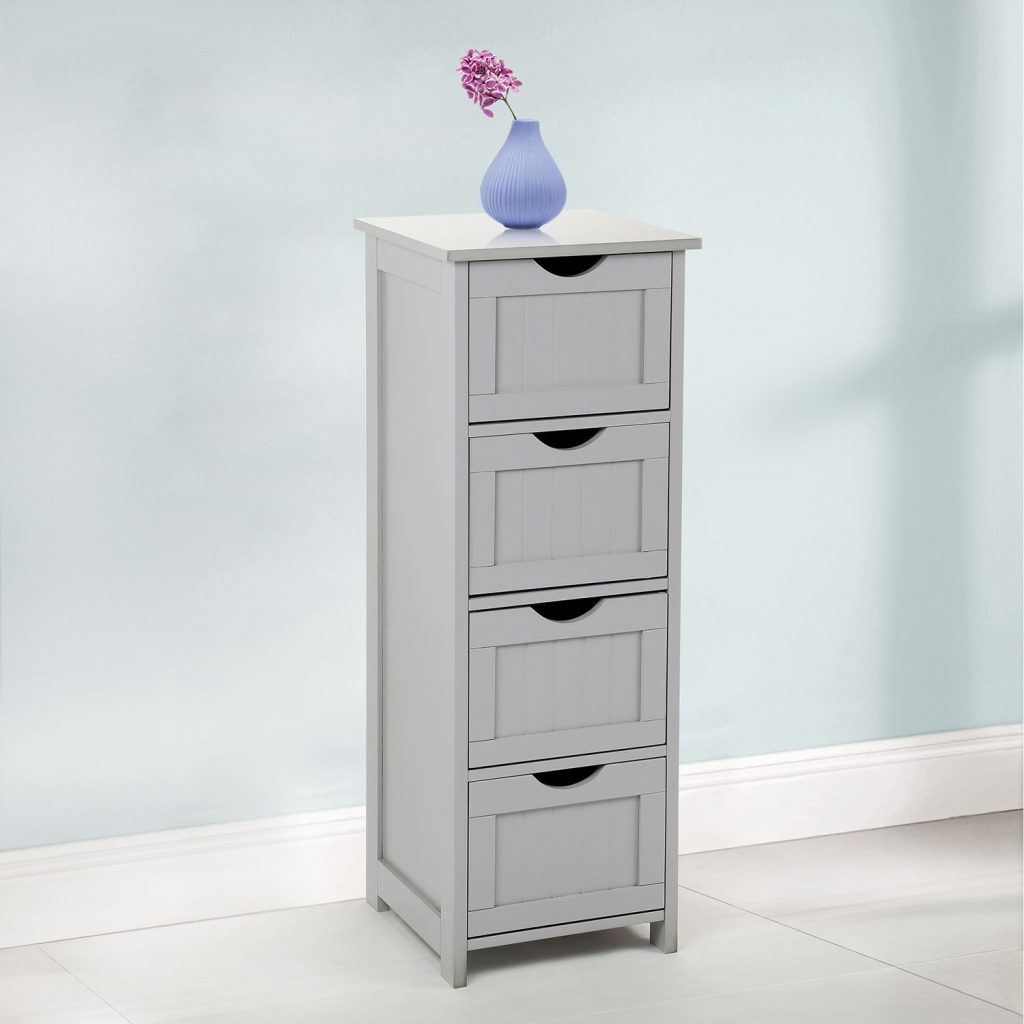 4 Drawer Slim Chest Tall Bathroom Storage Cabinet Bedroom Hallway