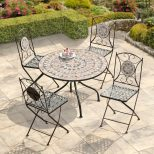 4 Seater Patio Dining Set Green Mosaic Cafe Table Lawn Garden