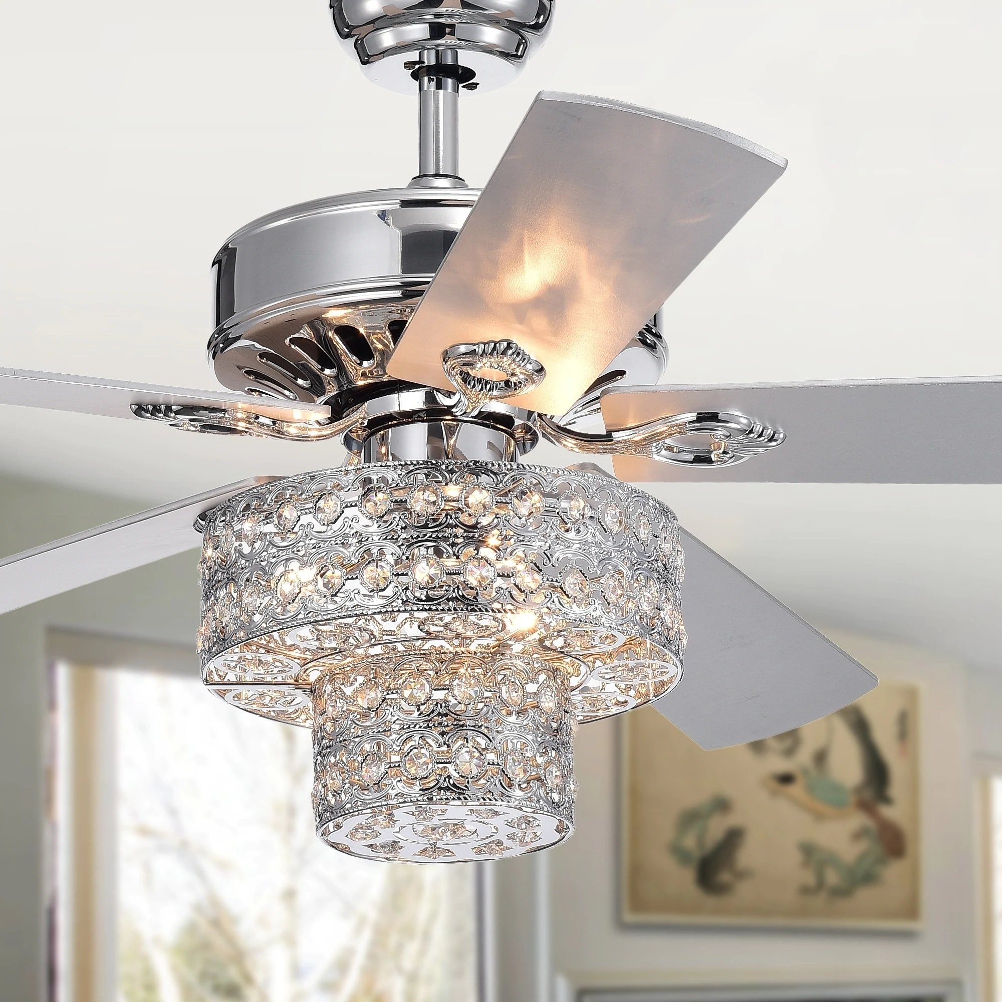 52 Princess Chandelier 5 Blade Ceiling Fan With Remote