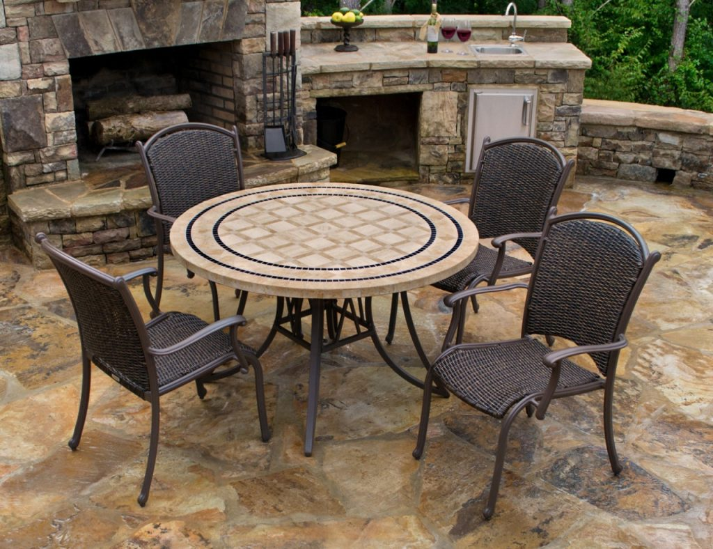 53 Mosaic Outdoor Dining Sets Knf Garden Designs 30quot Iron