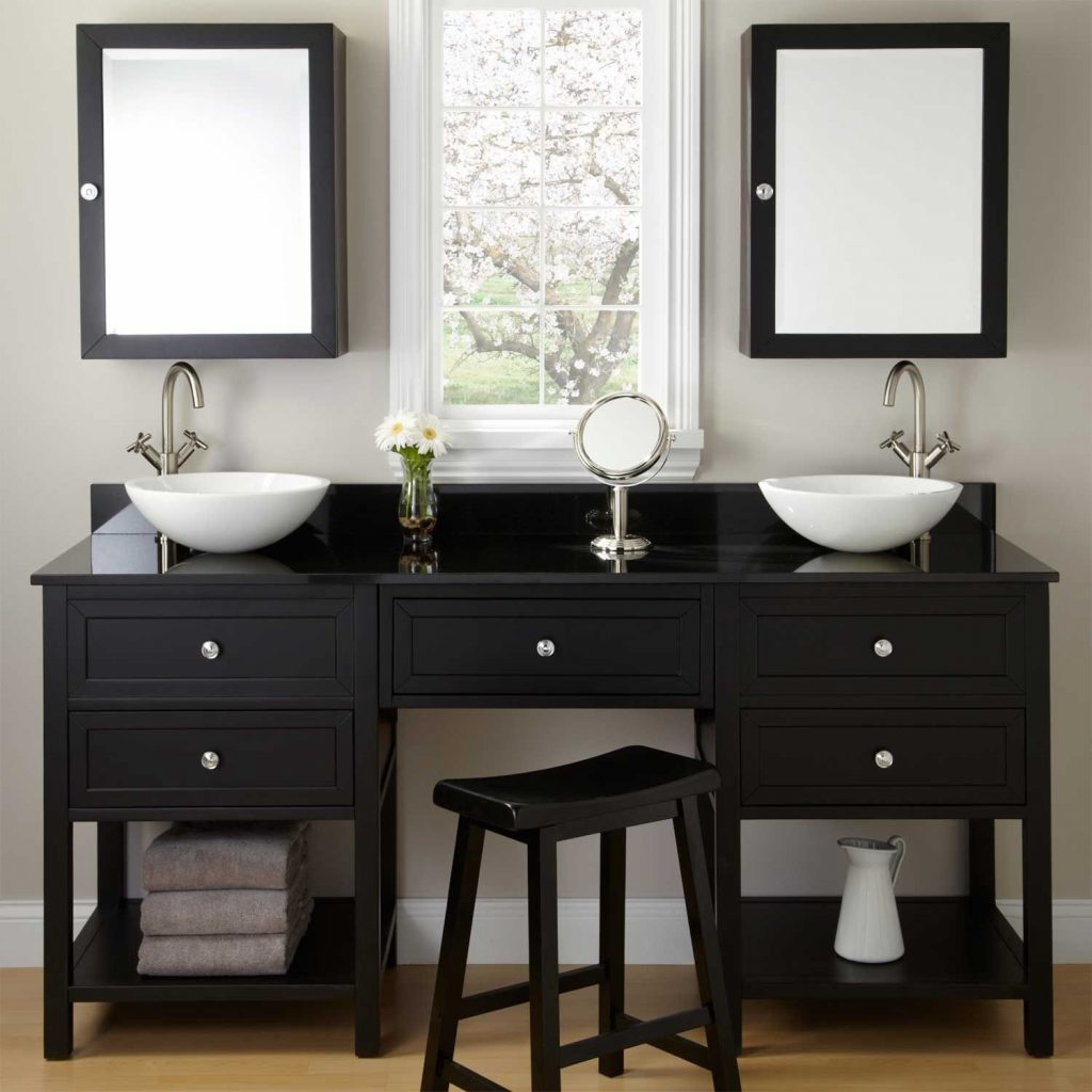72 Taren Black Double Vessel Sink Vanity With Makeup Area