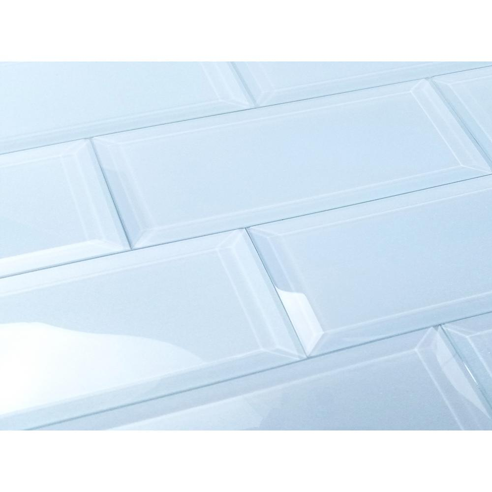 Abolos Blue Subway Rectangle 3 In X 12 In Glossy Glass Peel