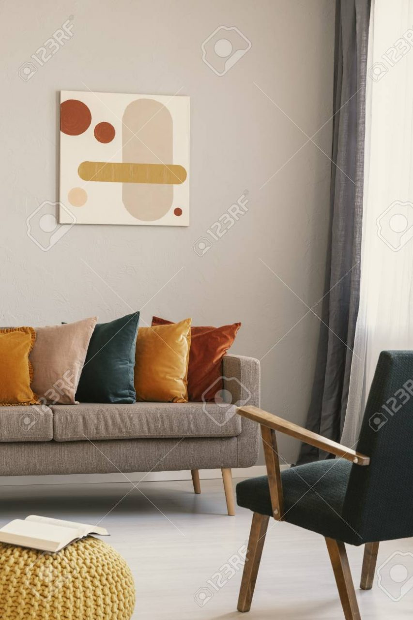 Abstract Painting On Grey Wall Of Retro Living Room Interior With