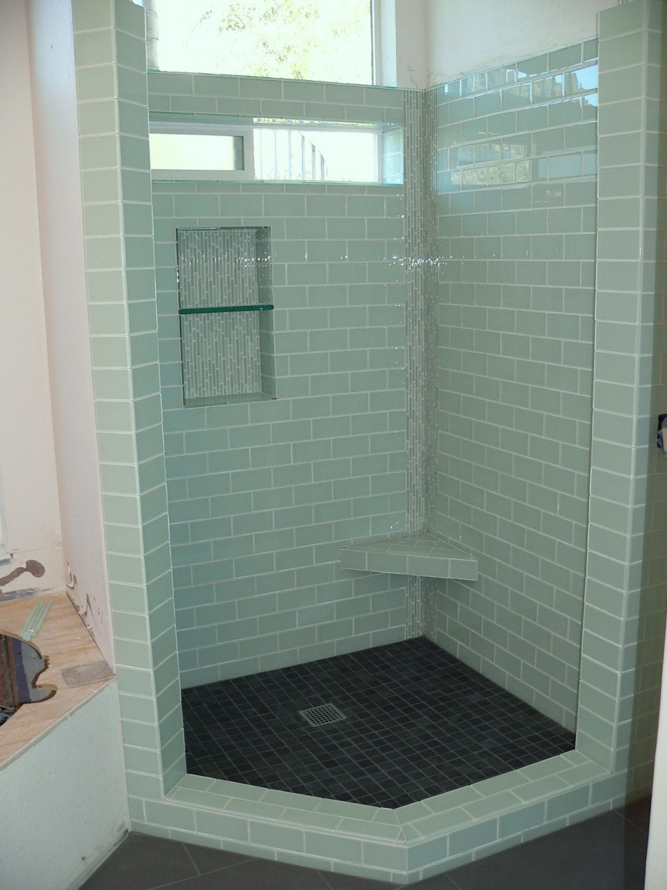 Bathroom Creative Green Glass Tiles Home Design Popular Ba Shower