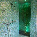 Green Glass Tile Bathroom Showers