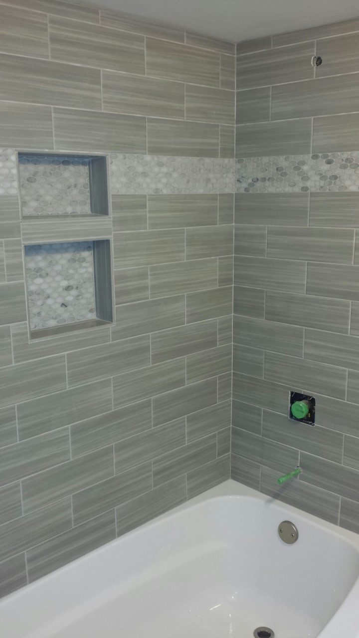 Bathroom Shower Niche Mosaic Border Linear Tile Subway Tile