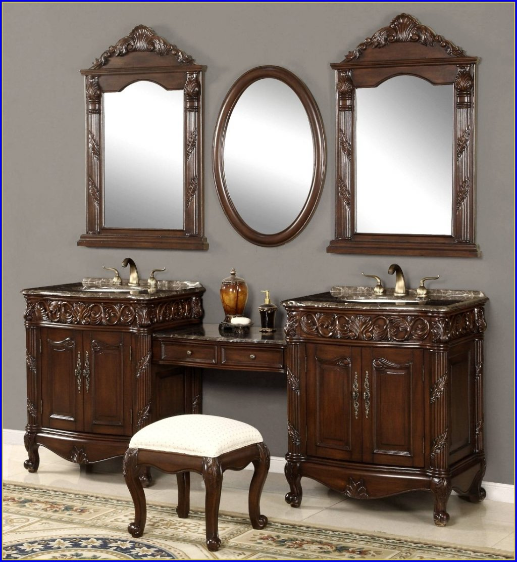 Bathroom Sink Vanity With Makeup Area Bathroom Home Design Ideas