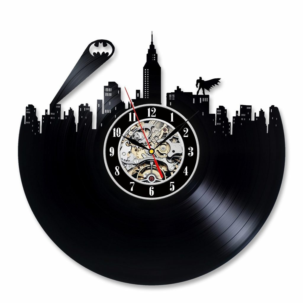Batman Wall Art Vinyl Wall Clock Batman Gifts Vinyl Record Etsy