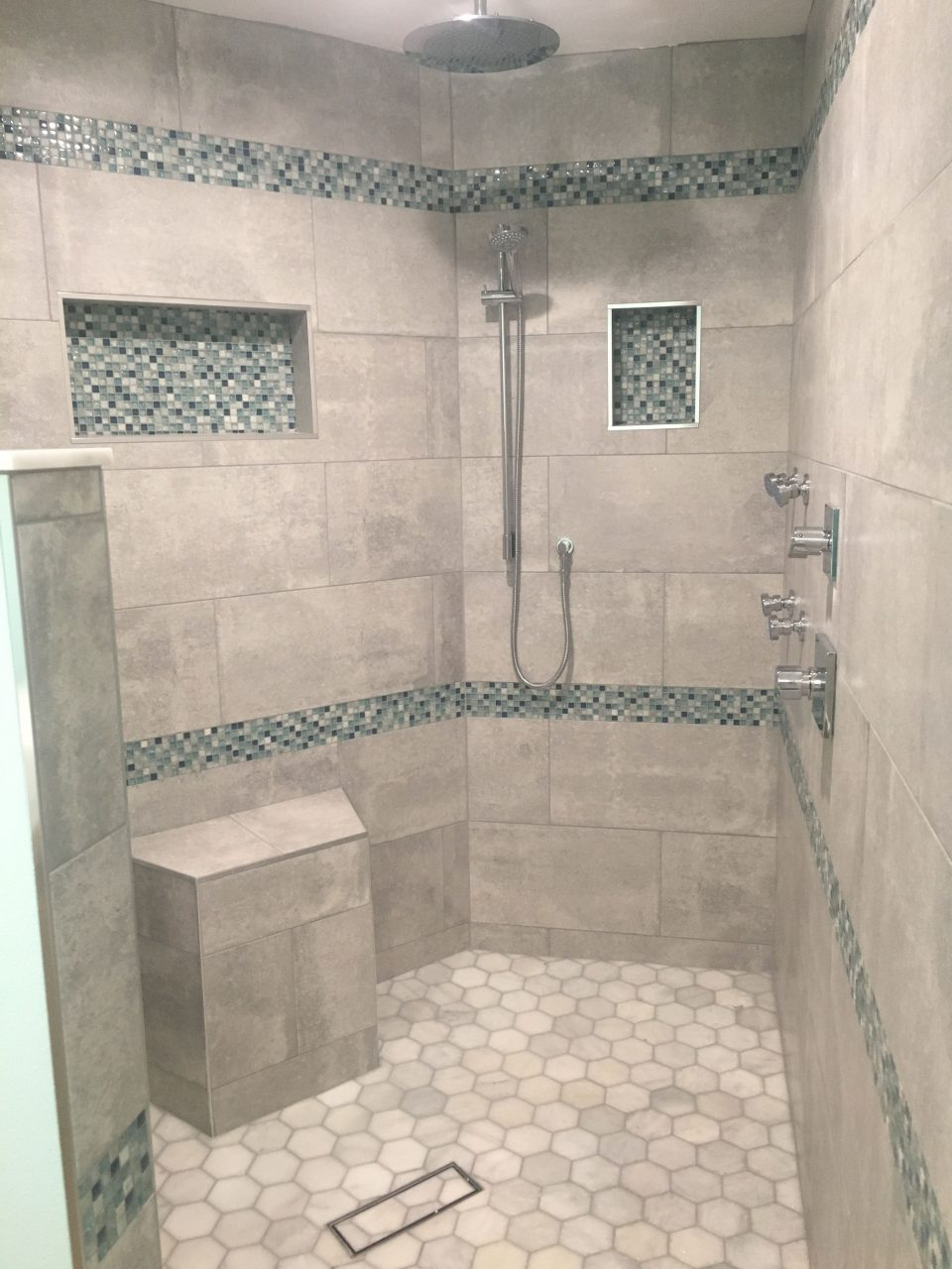 Beach Themed Master Shower Double Shower Heads Jets Walk In
