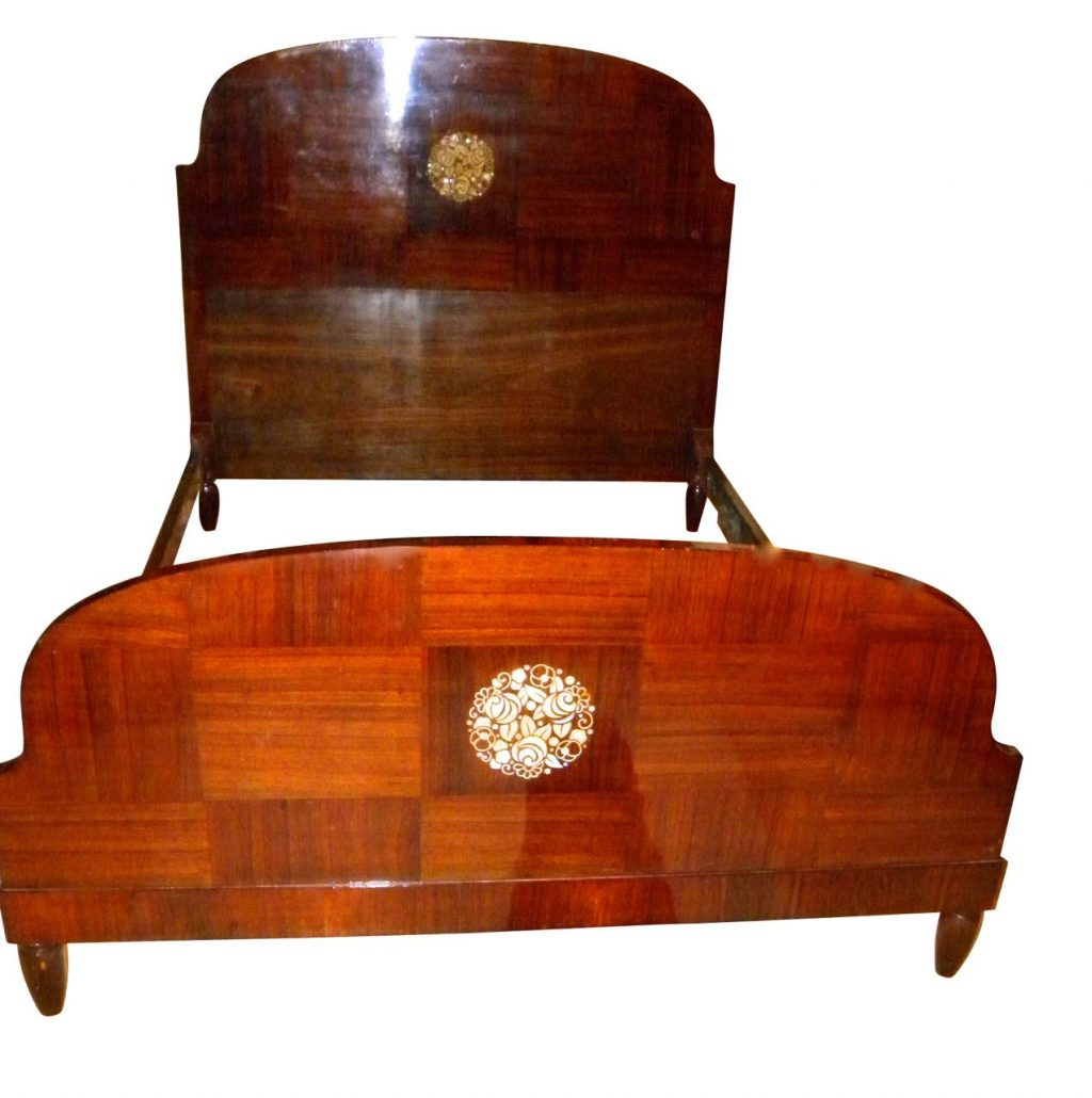 Beautiful Mahogany Art Deco Bed With Marquetry From The 1920s Sold