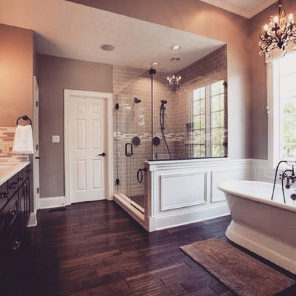 Beautiful Master Bath Love The Hardwood Tiles Gorgeous Shower