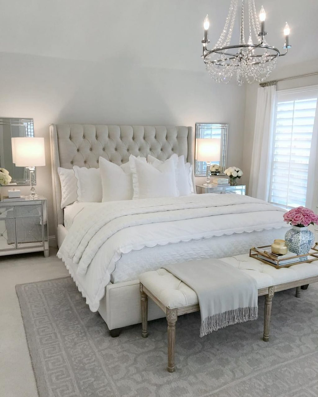 Bedroom Inspo Glam Bedroom Tufted Bed Classic Gray Paint Benjamin