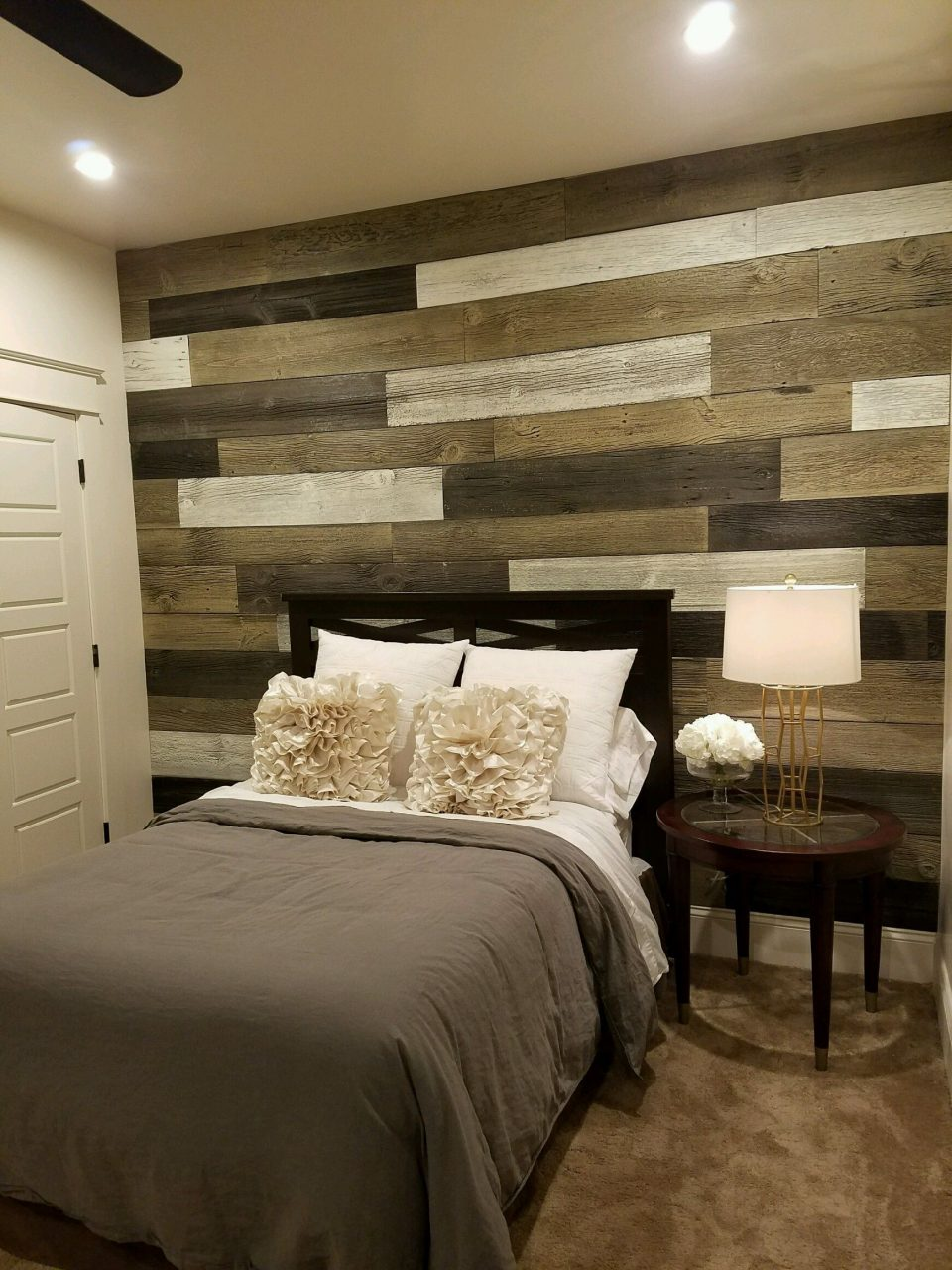 Bedroom Wood Accent Wall Using 3 Different Faux Logic Designs Colors