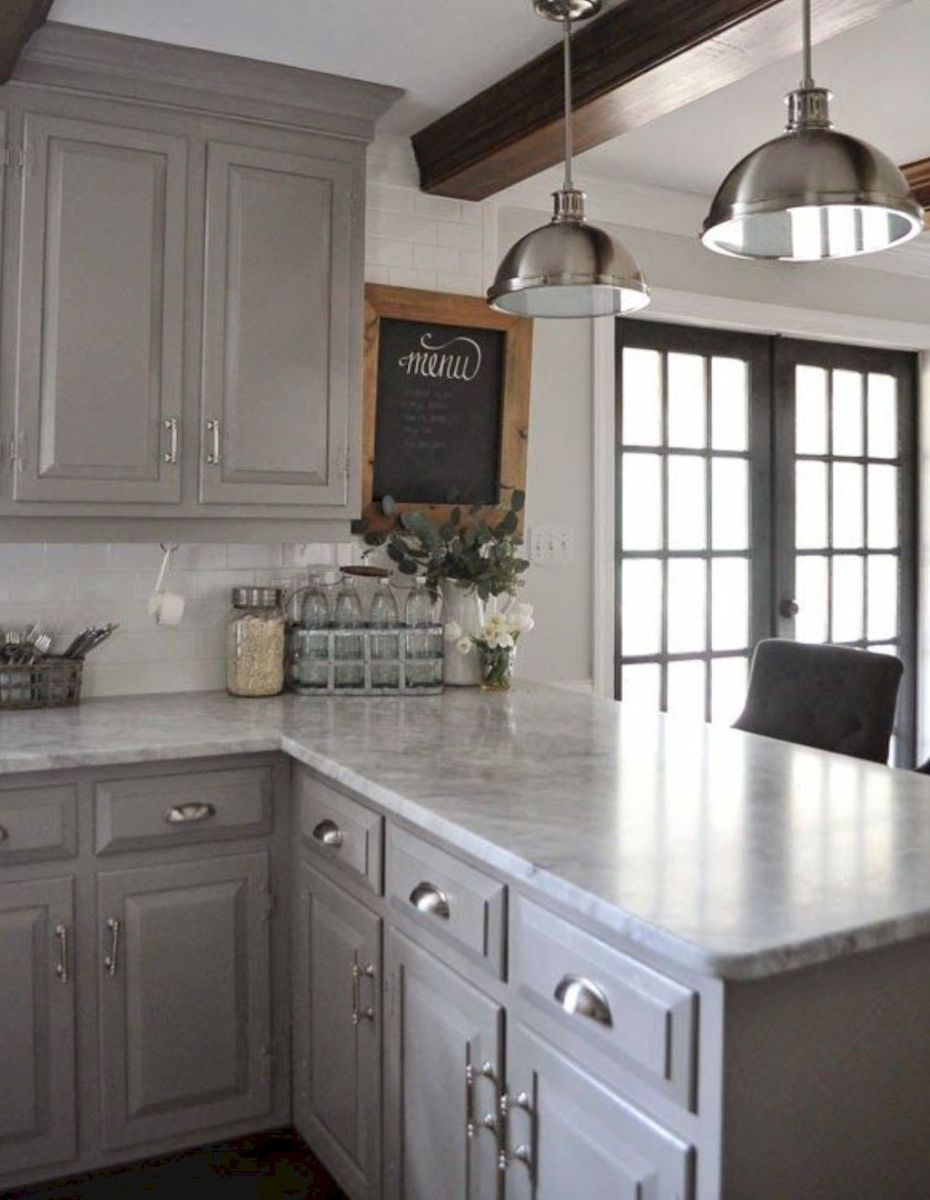Best Rustic Farmhouse Gray Kitchen Cabinets Ideas 24 Best