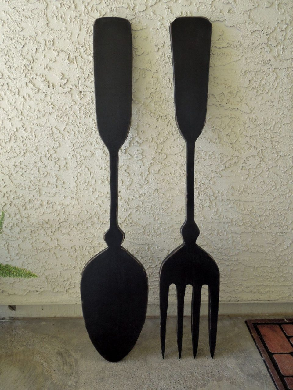 Big Wood Spoon And Fork Wall Decor For Your Kitchen Jigsawjoe