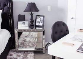 Gray and White Glam Bedroom