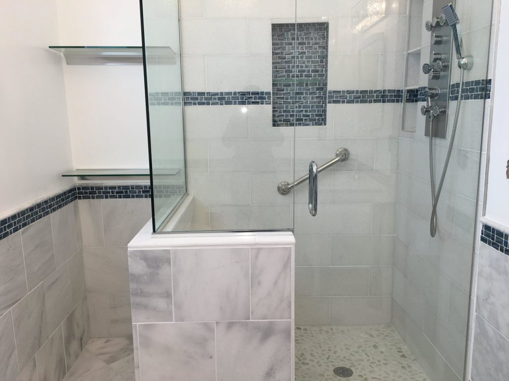 Blue Recycled Glass Tile Bathroom Accent Modern Home In California