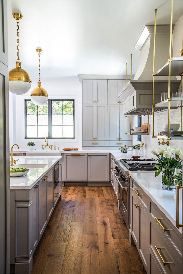 Brass Accents Grey Cabinets Modern Cape Cod Kitchen At Bundy In
