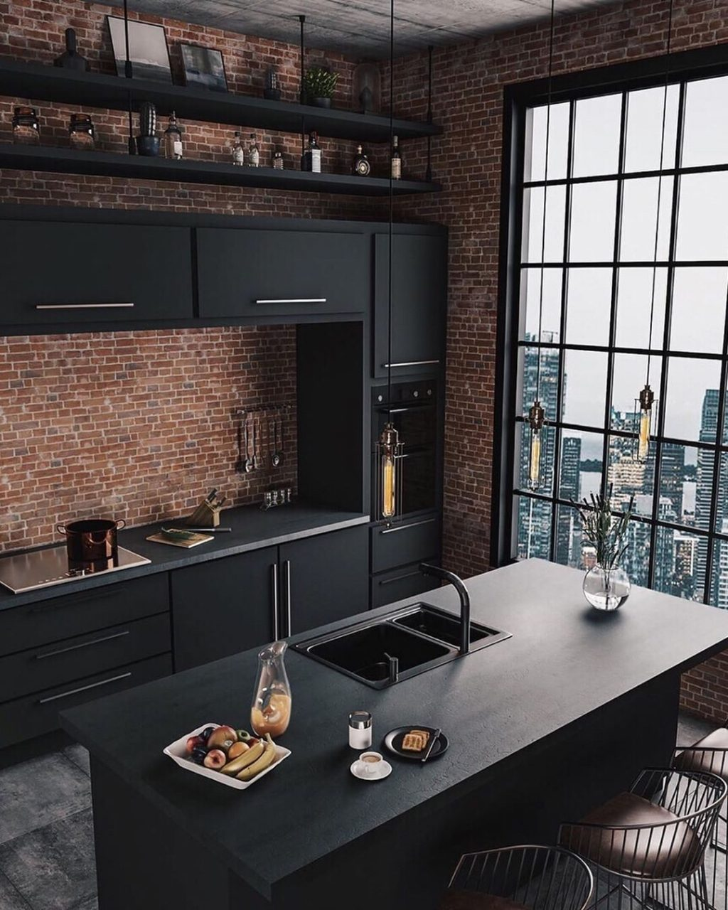 Breathtaking Industrial Style Kitchen In Love With Its Dark Color