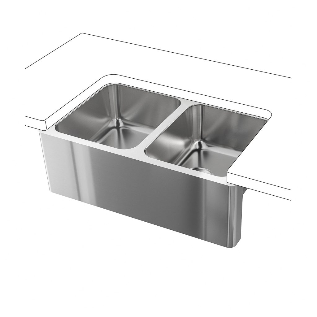 Bredsjn Apron Front Double Bowl Sink Under Glued Stainless Steel
