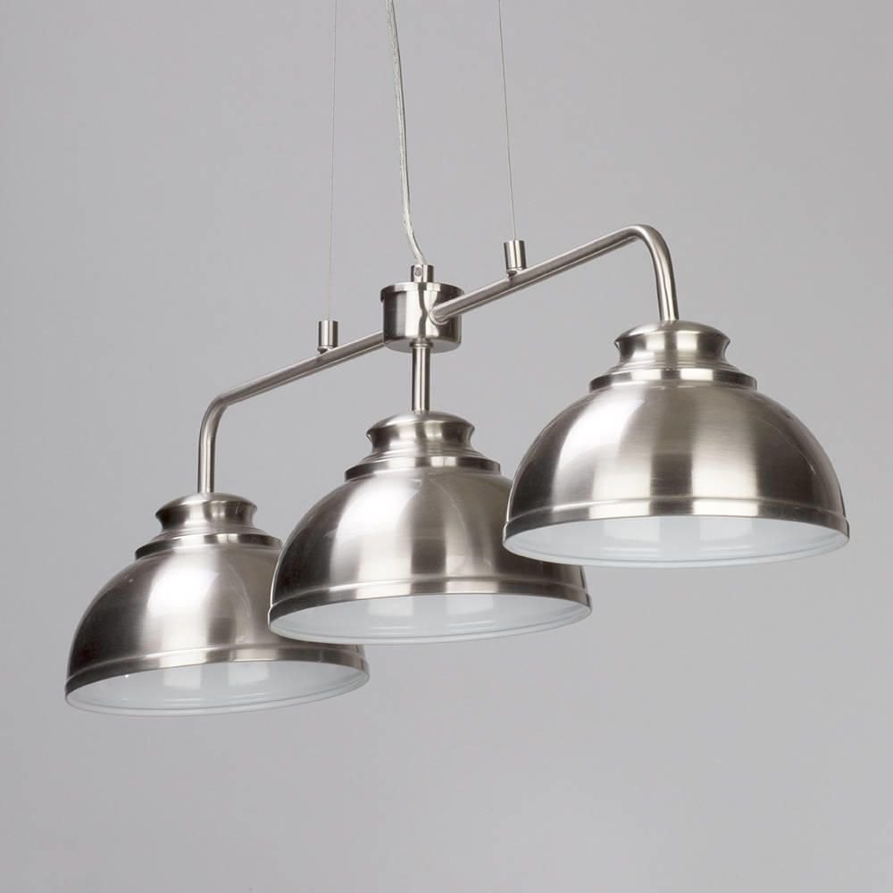 Brooklyn 3 Light Industrial Ceiling Pendant Bar Satin Industrial