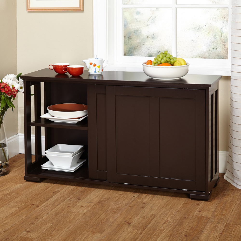 Brown Kitchen Island Wooden Storage Cabinet Stackable Utility Table
