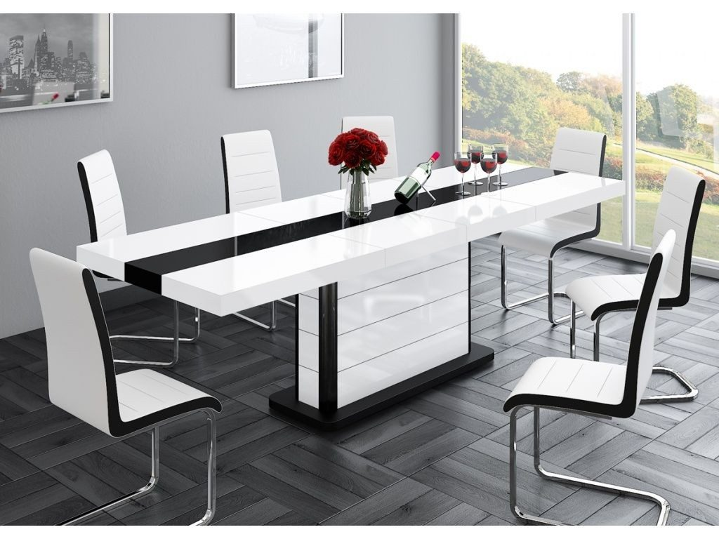 Buy High Gloss Black White Extending Dining Table 160 256cm 10 12