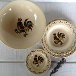 California Provincial Rooster Dishes Metlox Poppy Trail Vernon Etsy