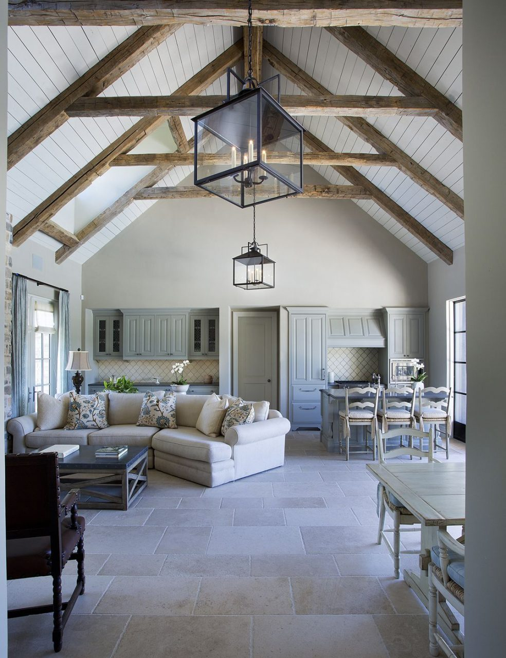Cathedral Ceilings With Exposed Beams White Washed Bright Interior
