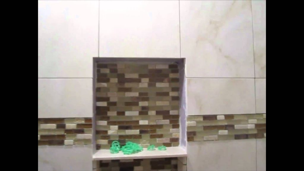 Ceramic Tile Tub Area With Glass Border Youtube