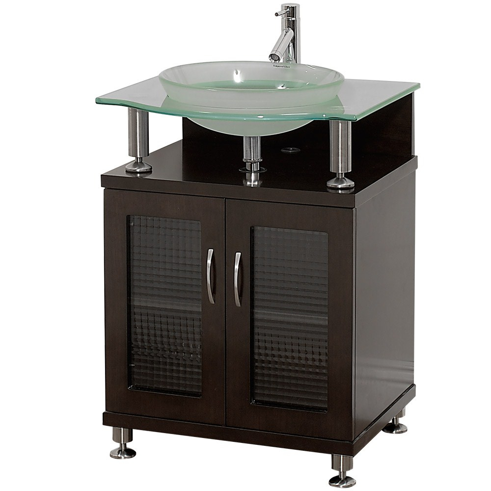 Charlton 24 Bathroom Vanity With Doors Espresso W Clear Glass