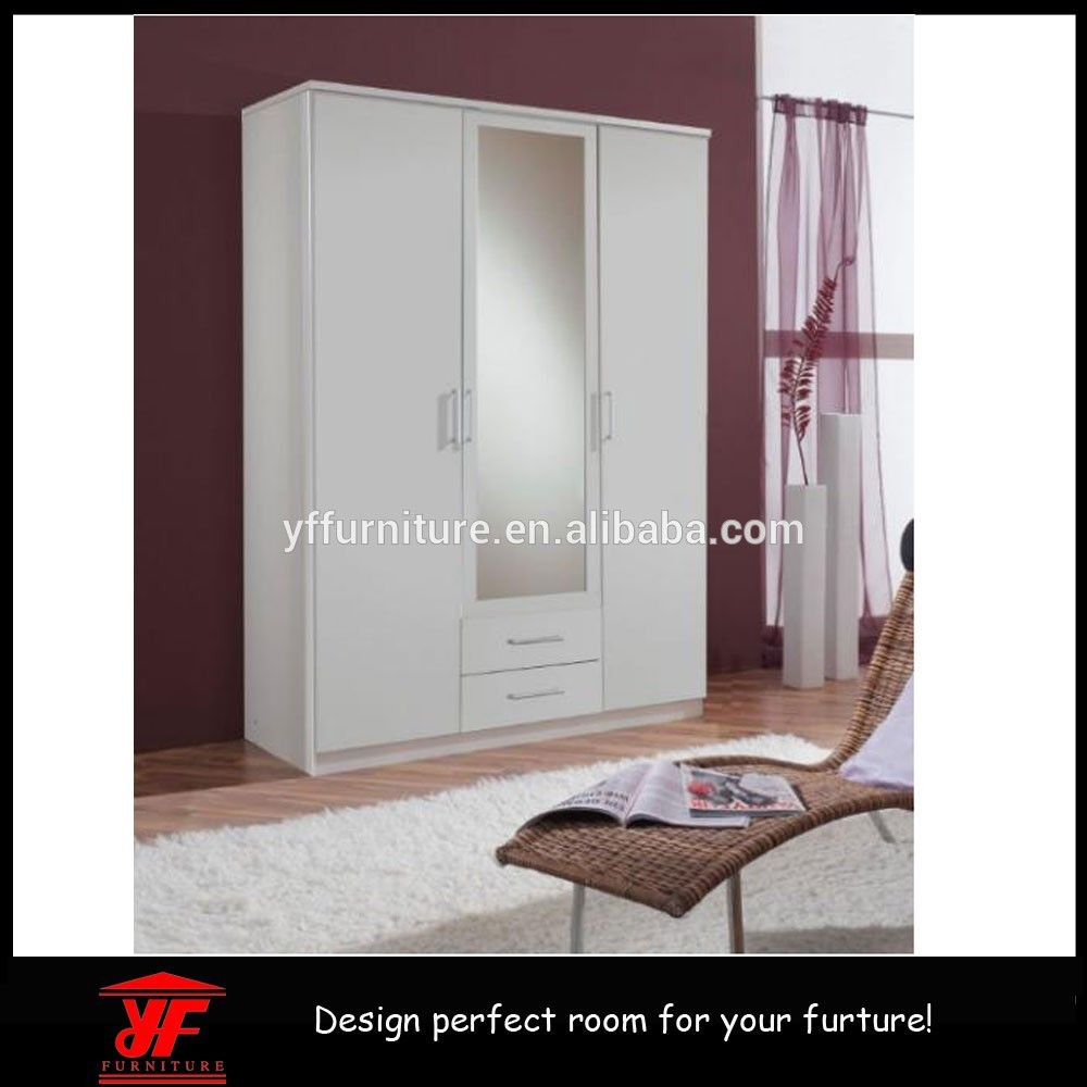 Cheap Wood Bedroom Furniture Cabinet Design Mirror Door Wardrobe
