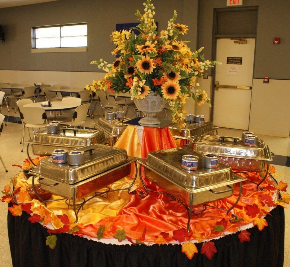 Classy Buffet Table Decoration Ideas Featuring Round Shape Buffet