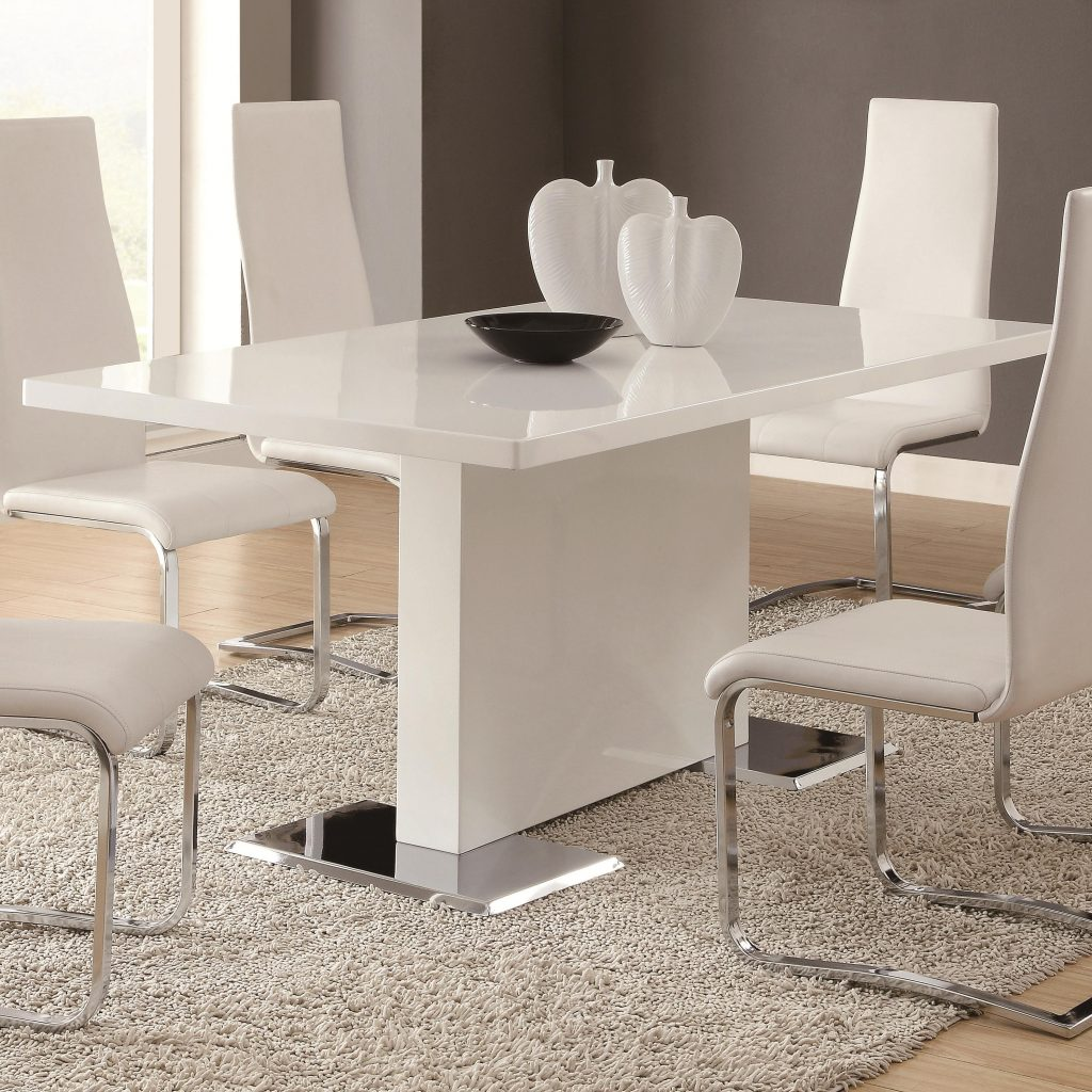 Coaster Furniture Nameth Glossy White Dining Table The Classy Home