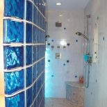 Colored Glass Block Shower In Middleton Wisconsin With A Caribbean Theme