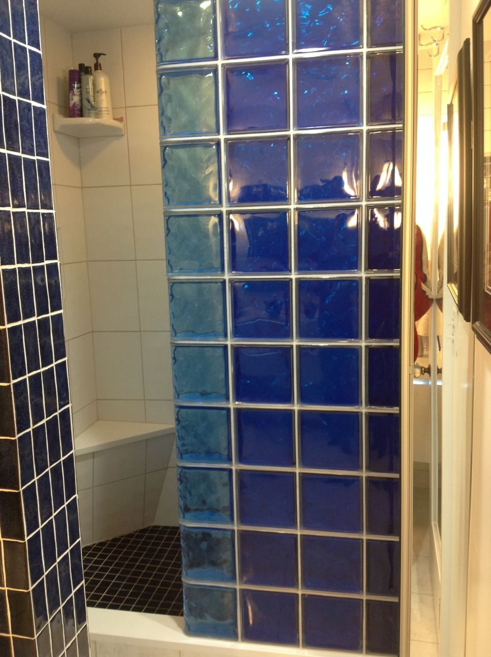 Colored Glass Block Shower Partition Walls In A Condo Remodeling