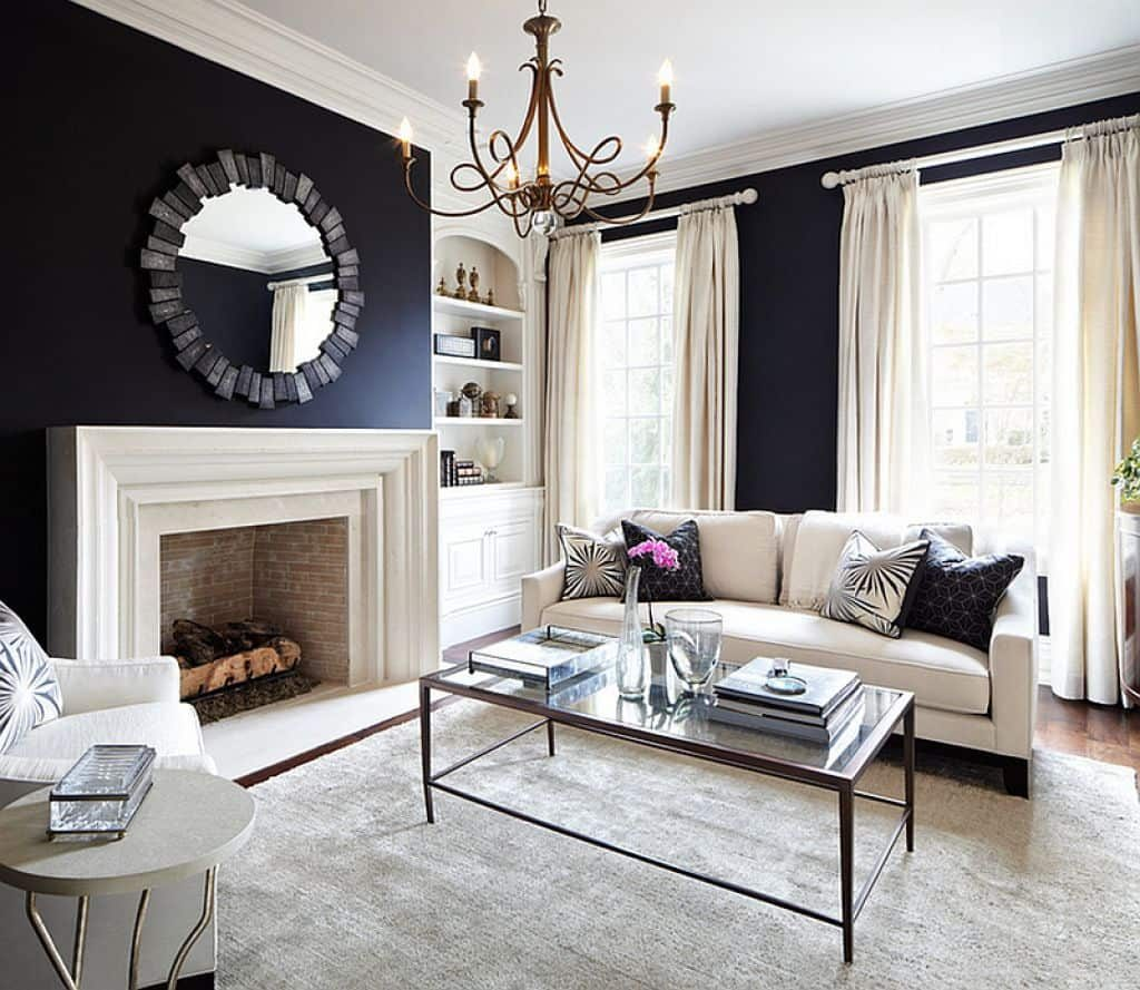 Comfy Living Room With Black And White Wall Color With Fireplace And