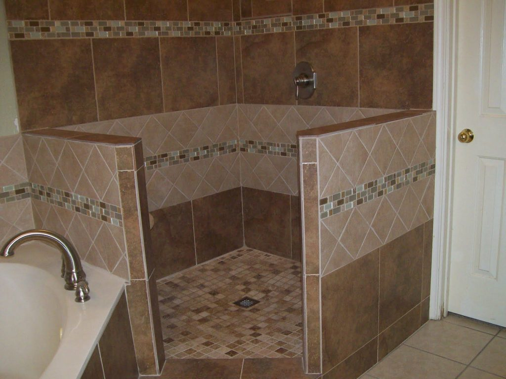 Corner Tile Walk In Shower Expanded Shower Both Directions Built