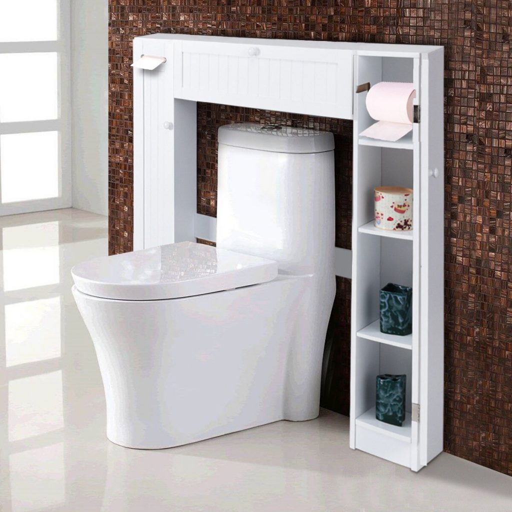 Costway Costway Wooden Over The Toilet Storage Cabinet Drop Door